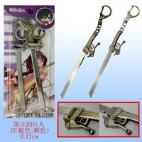 cosplay Attack on Titan Shingeki no Kyojin SNK Military Eren Jaeger Sword Knife Weapon Silver Metal Keychain x 10 set  c568