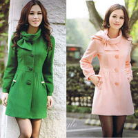 2013 autumn and winter slim single breasted woolen medium-long woolen overcoat outerwear women's