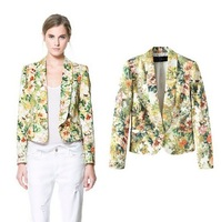 free shipping The autumn of 2013 new European and American flower printed leisure suit 1868