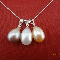 Free shipping  9-10MM NATURAL TEARDROP PEARL PENDANT WITH 925 STERLING SILVER CHAIN