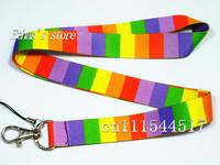 Free Shipping  Rainbow cross striation phone neck strap  lanyard  ID Badge Holder Mix order