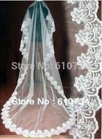 V0801  High Quality Lace Applique Long Netting Bridal Veil