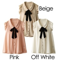 Women's small butterfly sleeve peter pan collar loose chiffon shirt sweet lace
