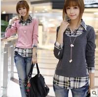 FreeShipping Retail S-XL 2014 Autumn New Fashion Women FakeTwinset Plus Size Plaid Bouse Long-sleeve 100%Cotton Shirt women Tops