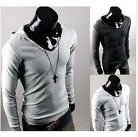 N1 2013 hot sale solid cotton long sleeve hoodies casual wholesale men's t-shirt men's clothes  QY5959