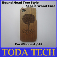 Round head tree style 100% real sapele wood hand-carved case for iPhone 4/4S free shipping