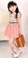 2013 summer children's clothing skirt female short-sleeve  princess dress gauze dress