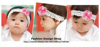 New arrival 1lot of 5pcs Cute lace bows hari accessories headbands for baby girls free shipping CZR086