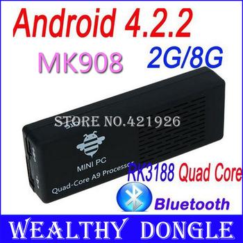 MK908 TV Stick RK3188 Quad Core Google Smart Android TV Box 2GB RAM Built-in Bluetooth IPTV Mini PC OS 4.2.2