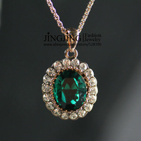N108 Elegant 18K Gold Pated Green Crystal Pendant Necklace Jewelry Austrian Crystal SWA Elements Wholesale