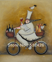 Chef Riding Bike Wine Bread Chicken 20X24 Handpainted Oil Painting on Canvas Wall Art Home Deco Kitchen Restaurant Free Shipping