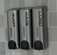 Quality silver soap dispenser wall mounted shampoo shower gel bottle soap box