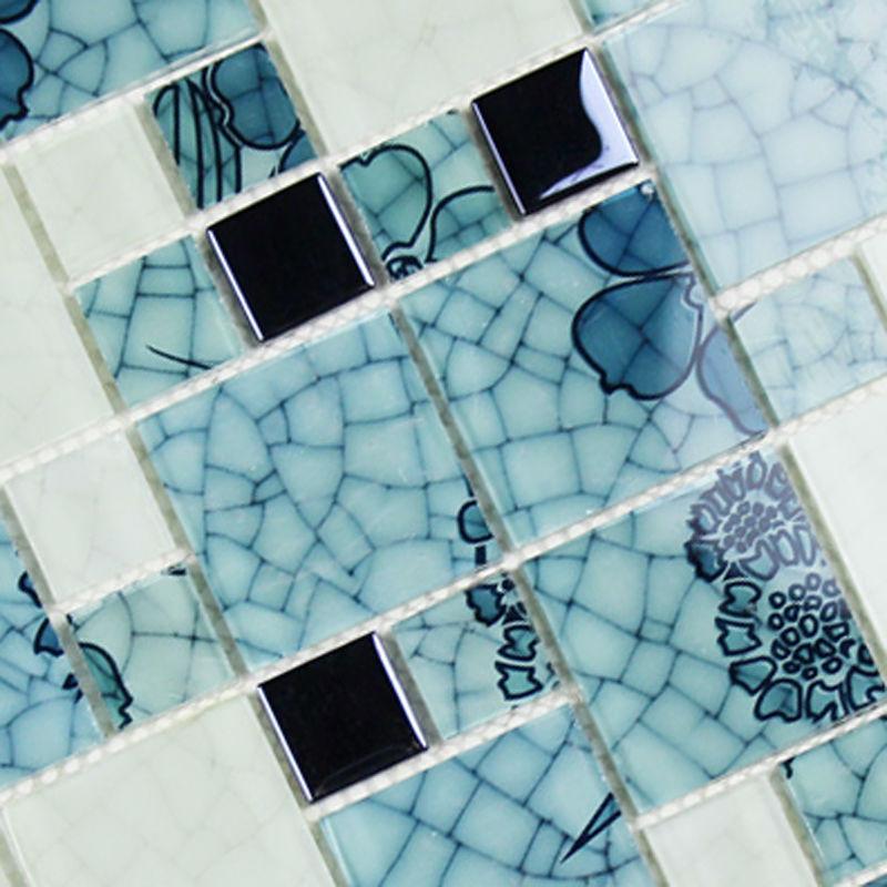 crystal glass tile backsplash pattern blue and white