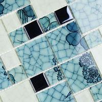 Crystal Glass Tile Backsplash Pattern blue and white Porcelain Mosaic Brick Kitchen Design art Wall Tiles Bathroom Floor sticker