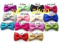 "3"" glitter hair  bows wiht no cliips, baby hair bows, 70pcs/lot, mixed 5pcs/14 color, free shipping"