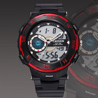 2013 new Ohsen sport watch Wristwatch mens boy digital dual time display dive fashion popular red silicone hand watches