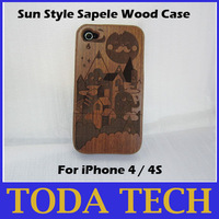 Sun style 100% real sapele wood hand-carved case for iPhone 4/4S free shipping