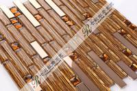 [Colorful Mosaic] Glass Brown Strip Mosaic Tile