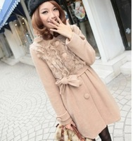 2013 free shipping New Arrival Korean Style Rabbit Hair Decorate Long Coat Camel YL11100410
