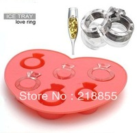 Free Shipping Creative Ice Mould,Silicone Ice Box, Love Ring Ice Tray Jelly Chocolate Mold Cube Cup Cake Maker Tray Fondant