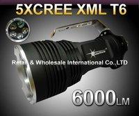 20pcs,DHL,cheap 35W Hot Sell 6000 Lumens CREE XML XM-L 5x T6 LED Flashlight Torch USE 4x 18650 Lamp light