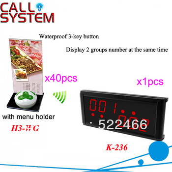 Wireless Buzzer System K-236+H3-WG+H with 3-key button and led display for restaurant equipment DHL free shipping