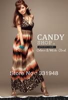 2014 Free shipping Fashion summer women's Hot sales new arrvial Bohemia high waist v-neck beach dress formal dress full dress