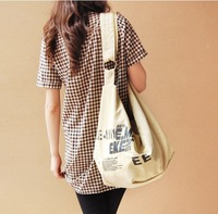 Free shipping 2013 new  women handbag fashion pull the wind canvas shoulder bag student
