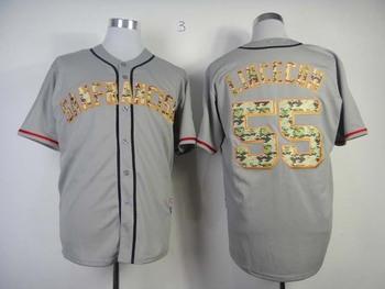 New San Francisco Giants #55 Tim Lincecum grey Camo USMC Baseball Jerseys Cool Base Embroidery logos Free Shipping