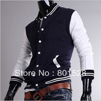 Kingtime Freeshipping  Men's Casual Rib collar color Baseball Jacket  male Baseball clothes Size:M-XXL  KTG146