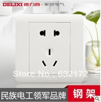 Delixi switch socket outlet 5 genuine special five-hole socket panel socket switch panel