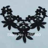 5 Pcs Black Polyester Sewing Venise Lace Neckline Flowers Trims DIY Craft