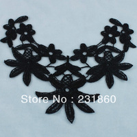 5 Pcs Black Polyester Sewing Venise Lace Neckline Flowers Trims DIY Craft