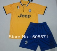 ^_^ 13/14 juventus away yellow soccer jerseys soccer uniform shirts + shorts top quality + free shipping customized
