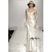 13W001 V-Neck Ruched Satin Full Length Gorgeous Luxury Unique Brilliant Bridal Wedding Dress Free Shipping