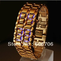 alibaba express High Quality,Fashionable Stylish 8-LED Blue Light Digit Stainless Steel Band Bracelet Wrist Watch ,Gold Color,