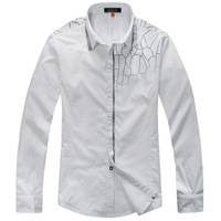 Quality 2013 men's clothing 100% cotton long-sleeve slim casual shirt fashion decorative pattern unique male shirt