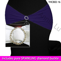 Discount purple spandex lycra chair band with pure sparkling rhinestones buckles wholesale