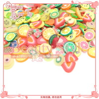 Nail art fruit 4-6mm small flower smiley clay tablets mixed