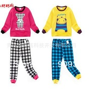 2013 autumn o-neck  grid Cartoon home Set   .fashion autumn children clothing set  children's sweatshirts +long pants