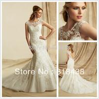 New Design LY-82 Elegant Mermaid Sweetheart Embroidered Appliques Beading Organza Wedding Dress White/Ivory VESTIDO DE NOIVA