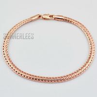 New Fashion Jewelry 4mm Mens Womens Popcorn Link Chain 18K Rose Gold Filled Bracelet Free Shipping Gold Jewellery GFB102