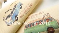 10PC 20*20cm  Aquamarine blue bus  Hand Painting Dyeing Natural Cotton Linen Canvas Handmade DIY Patchwork Fabric Mix Order