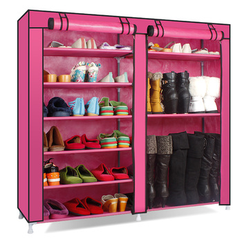 Cotton-made simple shoes cabinet cloth cabinet shoe hanger boots storage cabinet ultralarge belt zipper shoe cabinet simple