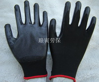 Gloves work gloves black wear-resistant oil nylon nitrile gloves