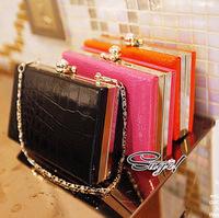 women's handbag new crocodile pattern skull ring clutch bag evening bag women's handbag