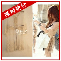 2013 spring and summer vintage gauze embroidery three quarter sleeve cardigan lace one-piece dress sun protection clothing