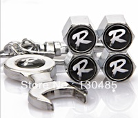10pec New Black R logo Tire Valve Caps with Wrench Keychain Free Shipping