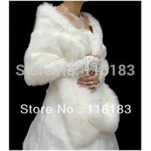 Free Shipping ! Ivory Lvory Faux Fur Wrap Shrug Bolero Coat Bridal Shawl Jacket Wedding Dresses Bridal Gowns Dress Hot  One Size(China (Mainland))