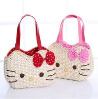 New arrival Hot-selling Hello kitty cat corn husk handmade straw handbag / beach bag / Free shipping